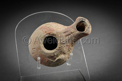Very Rare Ancient Punic Pottery Oil Lamp With Two Wicks