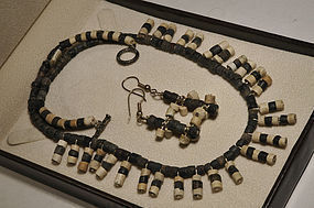 Ancient Roman stone beads Set Necklace and earrings