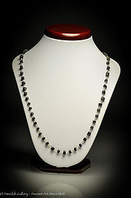 Ancient Roman Black beads and silver necklace, 100 AD