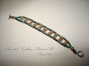 Ancient Egyptian Hyksos Faience Beads Bracelet,1500 BC